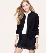LOFT Cotton Crew Neck Cardigan
