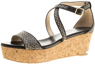 Jimmy Choo Black/Beige Woven Straw and Fabric Portia Cork Wedge Cross Strap Sandals Size 42