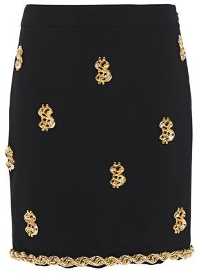 Moschino Chain-trimmed Embellished Crepe Mini Skirt