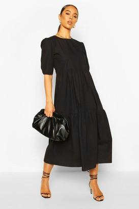 boohoo Cotton Tiered Midi Smock Dress