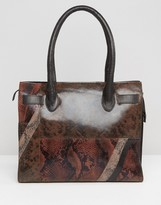 Urban Code Urbancode Faux Snakeskin Leather Mix Tote Bag