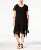 J Kara Plus Size Beaded Handkerchief-Hem Dress
