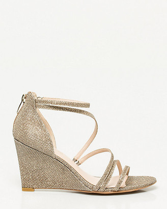Le Château Glitter Mesh Strappy Wedge Sandal