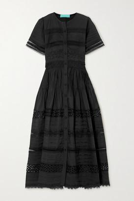 Waimari Camilla Guipure Lace-trimmed Cotton Maxi Dress - Black