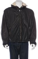 Giorgio Armani Shearling-Trimmed Leather Jacket