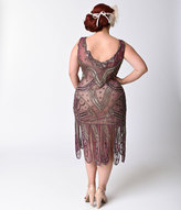 Unique Vintage Plus Size 1920s Style Purple & Gold Beaded Sinclair Flapper Dress