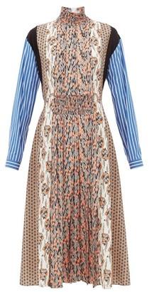 Prada High-neck Patchwork-print Sable Midi Dress - Orange Print