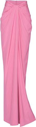 Brandon Maxwell Pinstriped Cotton Maxi Wrap Skirt