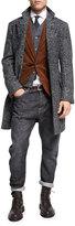 Brunello Cucinelli Glen Plaid Alpaca Single-Breasted Coat, Dark Gray