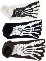 Weinisite Men's Skeleton Bone Skull Five Finger Toe Cotton Socks Separate Toe Socks