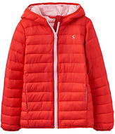 Joules Little Joule Girls' Kinnaird Pack Away Padded Puffer Jacket, Red