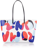 Fendi Roll printed textured-leather tote