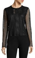 Elie Tahari Gavin Crochet & Leather Jacket