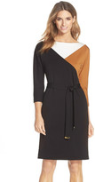 Ellen Tracy Belted Colorblock A-Line Dress