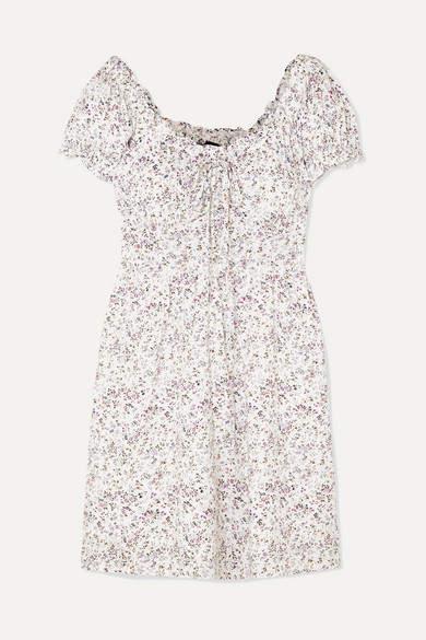 J.Crew Shirred Floral-print Voile Mini Dress - Ivory