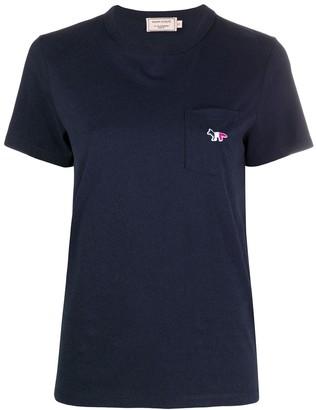 MAISON KITSUNÉ embroidered tricolor fox T-shirt