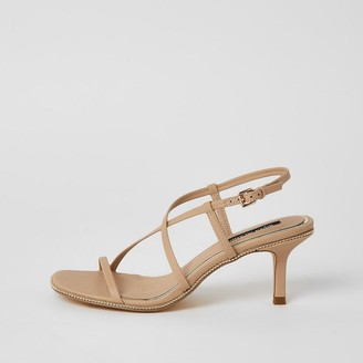 River Island Beige beaded strappy low heel sandals
