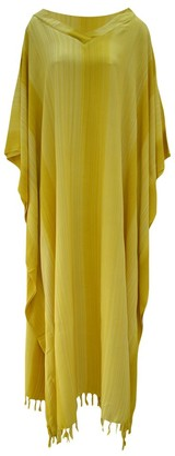 Cool Kaftans Stripey Ladies Kaftan Long Ethnic Hand Made Vibrant Large Womens Cool Stripes (Yellow)