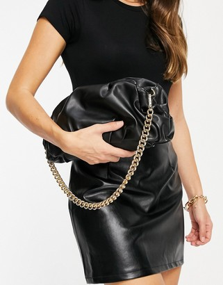 ASOS DESIGN oversized ruched clutch in black with detachable shoulder chain