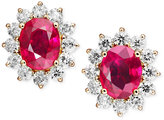 Macy's 14k Gold Earrings, Ruby (4-3/8 ct. t.w.) and Diamond (1-9/10 ct. t.w.) Stud