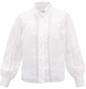 Frame Diamond Lace-insert Ramie Blouse - Womens - White