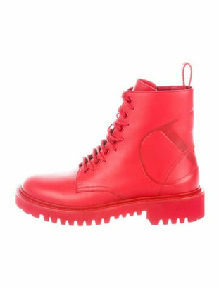 Valentino Combat Boot Leather Combat Boots Red