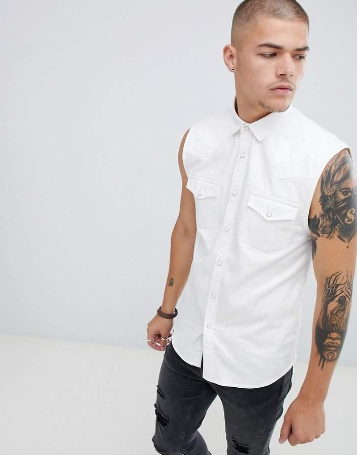 Asos DESIGN skinny fit sleeveless denim shirt in white