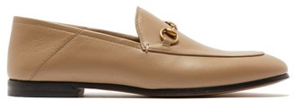 Gucci Brixton Collapsible-heel Leather Loafers - Womens - Beige