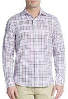 Saks Fifth Avenue Regular-Fit Plaid Linen & Cotton Sportshirt