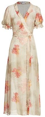 Adriana Iglesias Capri Short-Sleeve Silk Printed Robe