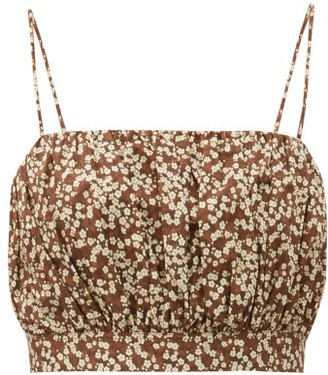 Matteau Gathered Cotton-poplin Crop Top - Brown Print