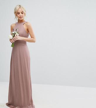 TFNC Petite High Neck Pleated Maxi Bridesmaid Dress