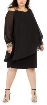Betsy & Adam Plus Size Cold-Shoulder Overlay Shift Dress