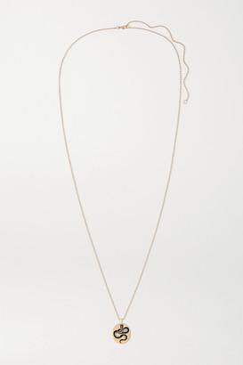 Diane Kordas 18-karat Rose Gold, Enamel, Diamond And Tsavorite Necklace - one size