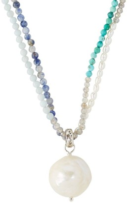 Chan Luu 3MM-15MM White Pearl Mixed Gemstone Double Layer Necklace