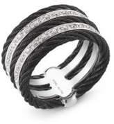 Alor Noir Diamond, Stainless Steel and 18K Gold Ring