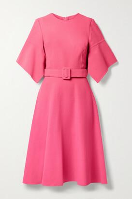 OSCAR DE LA RENTA - Belted Wool-blend Gauze Dress - Pink