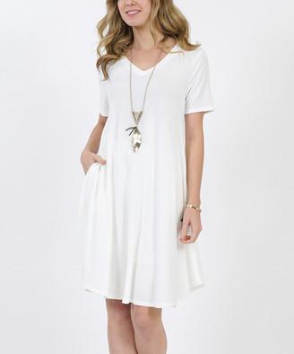 42pops 42POPS Women's Casual Dresses IVORY - Ivory V-Neck Short-Sleeve Curved-Hem Pocket Tunic Dress - Women