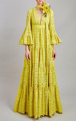Elie Saab Broderie Anglaise Maxi Dress