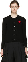 Comme des Garcons Black Wool Heart Patch Cardigan