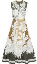 Valentino Embroidered Voile-appliqued Color-block Twill Midi Dress