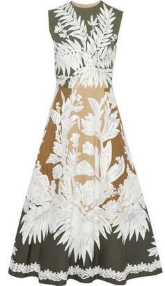 Valentino Embroidered Voile-appliqued Color-block Twill Midi Dress