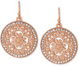 Hint of Gold Crystal Filigree Circle Drop Earrings in 14k Rose Gold-Plated Metal