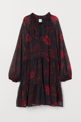 H&M Balloon-sleeved Dress - Black
