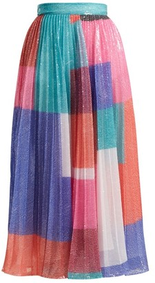 Mary Katrantzou Ilona Pleated Sequined Skirt - Womens - Multi