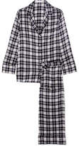 Equipment Avery Checked Washed-silk Pajama Set - Black