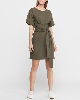 Express Rolled Sleeve Wrap Dress