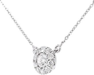 Mogul 9ct White Gold Diamond Cluster Round Pendant Necklace, 0.25ct