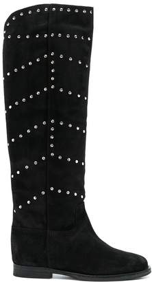 Via Roma 15 studded knee high boots