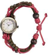 Kahuna Women's Quartz Watch with Gold Dial Analogue Display and Pink Plastic or PU Strap KLF-0006L